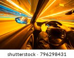 movement of the car at night at ... | Shutterstock . vector #796298431