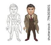 italian mafia leader wearing... | Shutterstock .eps vector #796303831