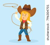 cowgirl throws a lasso for... | Shutterstock .eps vector #796304701