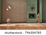 brown brick wall and green wall ... | Shutterstock . vector #796304785