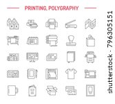 printing house flat line icons. ... | Shutterstock .eps vector #796305151
