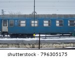 snowy train with train station | Shutterstock . vector #796305175