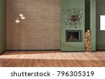 brown brick wall and green wall ... | Shutterstock . vector #796305319