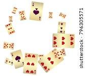 casino. poker card scattered... | Shutterstock .eps vector #796305571