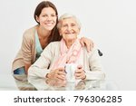 young woman as a geriatric... | Shutterstock . vector #796306285