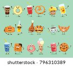 cartoon funny friends fast food ... | Shutterstock .eps vector #796310389