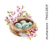 easter spring watercolor... | Shutterstock . vector #796312819