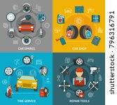 flat design tire service... | Shutterstock .eps vector #796316791
