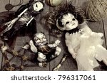 scary dolls and pentagram on... | Shutterstock . vector #796317061