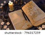 open old book with magic spells ... | Shutterstock . vector #796317259