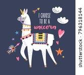 cute cartoon llama alpaca with... | Shutterstock .eps vector #796318144