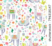 seamless pattern with llama ... | Shutterstock .eps vector #796318147