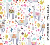 seamless pattern with llama ... | Shutterstock .eps vector #796318159