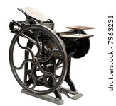 antique black letterpress restored to working condition, isolated on white - stock photo