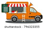 orange food truck side view... | Shutterstock .eps vector #796323355