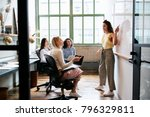 Small photo of Woman pointing at whiteboard in a meeting with female team