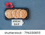 australian cookies anzac with... | Shutterstock . vector #796330855
