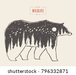 silhouette of a wild bear with... | Shutterstock .eps vector #796332871