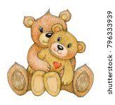 cute   sitting  cuddling  bears ... | Shutterstock . vector #796333939
