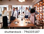 six colleagues celebrating... | Shutterstock . vector #796335187