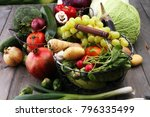 composition with variety of raw ... | Shutterstock . vector #796335499