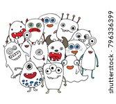 set doodle monsters print for t ... | Shutterstock .eps vector #796336399