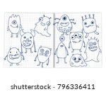 doodle monsters set on the page ... | Shutterstock .eps vector #796336411