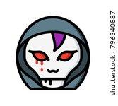 horror emoji   hooded demon  | Shutterstock .eps vector #796340887