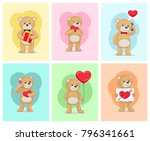 i love you and me teddy bears... | Shutterstock .eps vector #796341661