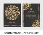 gold vintage greeting card on a ... | Shutterstock .eps vector #796341889