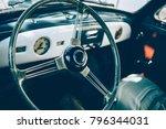 view of steering wheel inside... | Shutterstock . vector #796344031