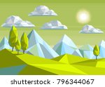 illustration  polygonal... | Shutterstock .eps vector #796344067