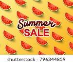 summer sale banner on cute... | Shutterstock .eps vector #796344859