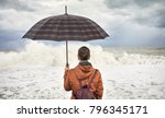 woman with umbrella and...   Shutterstock . vector #796345171