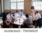 black businesswoman addressing... | Shutterstock . vector #796346029