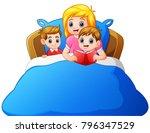 cartoon mother reading bedtime...   Shutterstock .eps vector #796347529