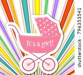 baby frame stroller on striped... | Shutterstock .eps vector #796353541