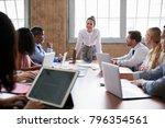 businesswoman addressing... | Shutterstock . vector #796354561