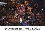 tapas selection. a cutting... | Shutterstock . vector #796356421