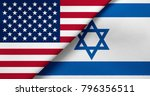 flag of usa and israel  | Shutterstock . vector #796356511