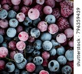 Small photo of frozen berries, black currant, red currant, raspberry, blueberry. top view. macro