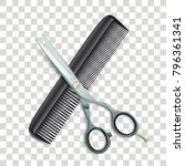scissors and comb on the... | Shutterstock .eps vector #796361341