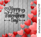 happy valentines day with red... | Shutterstock .eps vector #796361749