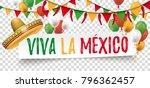 sombrero with balloons  bunting ... | Shutterstock .eps vector #796362457
