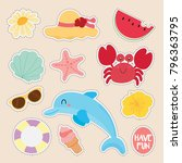 set of cute sticker  | Shutterstock .eps vector #796363795