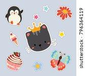 set of cute sticker | Shutterstock .eps vector #796364119