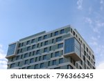 modern green and white building ... | Shutterstock . vector #796366345