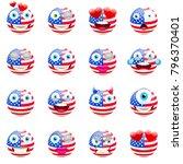 united states flag emojis.... | Shutterstock .eps vector #796370401