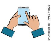 hand with smartphone device | Shutterstock .eps vector #796374829
