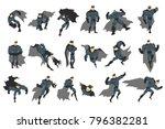 superhero actions set in comics ...   Shutterstock .eps vector #796382281